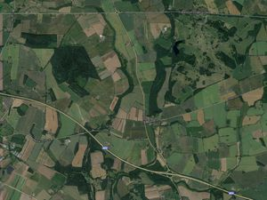 An aerial view showing land owned by the Bradford Estates next to Junction 3 of the M54. Image: Google