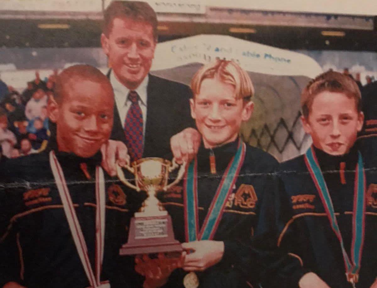 Lee Collins, centre, flanked by his friends Elliott Bennett, left, and Matt Bailey