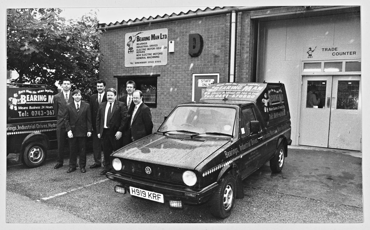 Bearing Man Ltd, Oswestry – July 5, 1993. New fluid power division. From left, manager Malcolm Evans, director Terry Pincher, director, group joint managing director Mike Stimpson, director/manager of Shropshire Fasteners Melvin Arnold, manager of Newtown branch Steve Kelly and joint managing director John Armstrong. All shareholders.