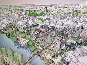 A bird's eye view drawing of how Shrewsbury town centre could look if the masterplan came to fruition