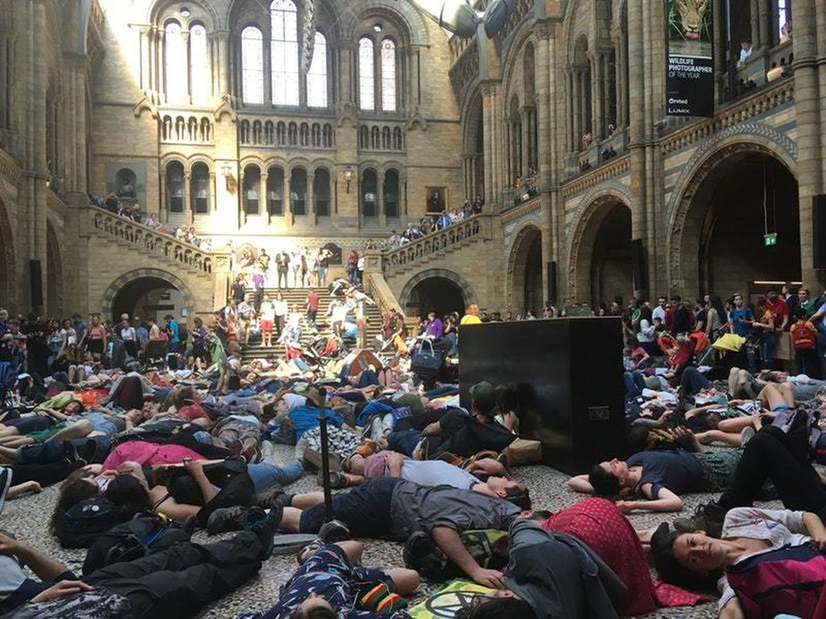 Extinction Rebellion protesters at the Natural History Museum