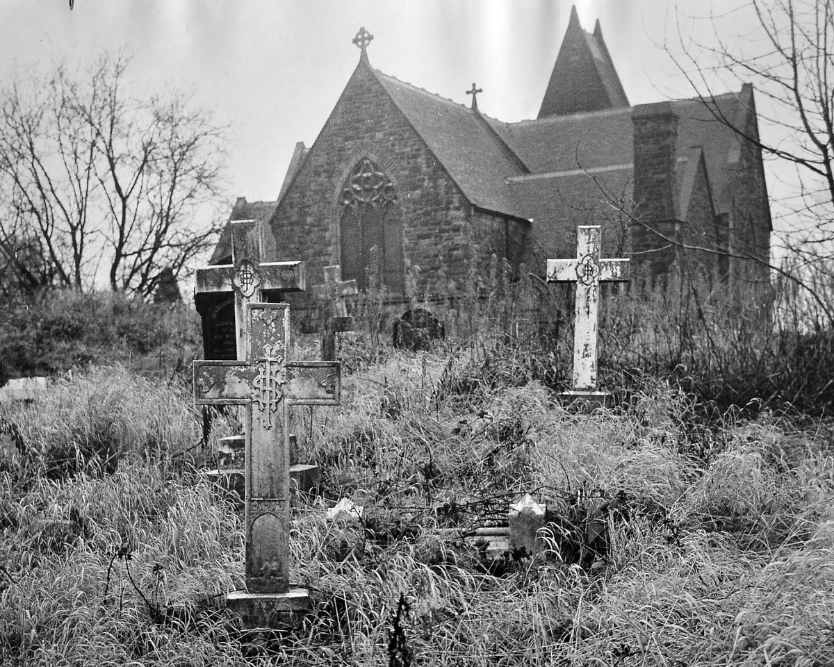 In January 1966 – imagine what it would be like in the summer – the churchyard of Wombridge Parish Church, near Oakengates, was in such a state, with tall weeds and crumbling gravestones, that people living nearby were worried. The vicar said at the time that laying it out lawn fashion would be easier to maintain, but relatives might be offended if gravestones were moved.