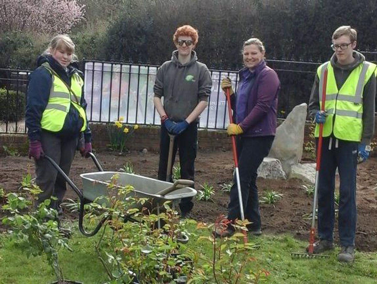 Derwen College horticultural students Matthew Stevens, Jarred Griffiths and Rachel Shingler with their instructor Sarah Bennett