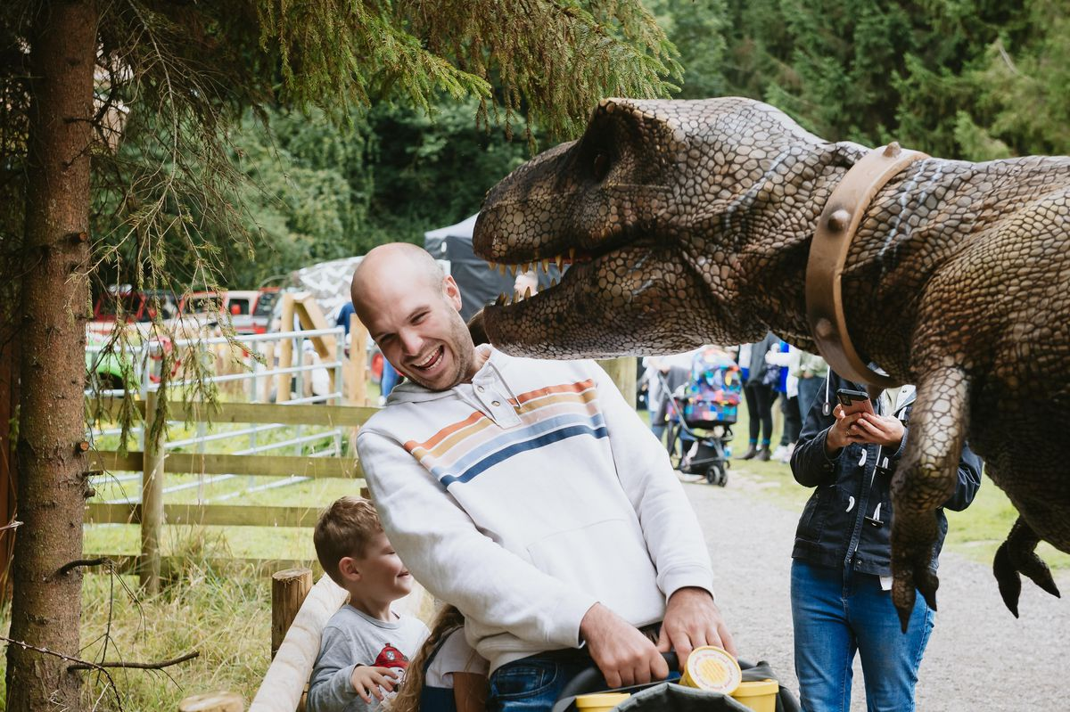 Will Marsh from Stafford getting eaten by a dinosaur at the Hoo Zoo and Dinosaur World Jurassic Park event
