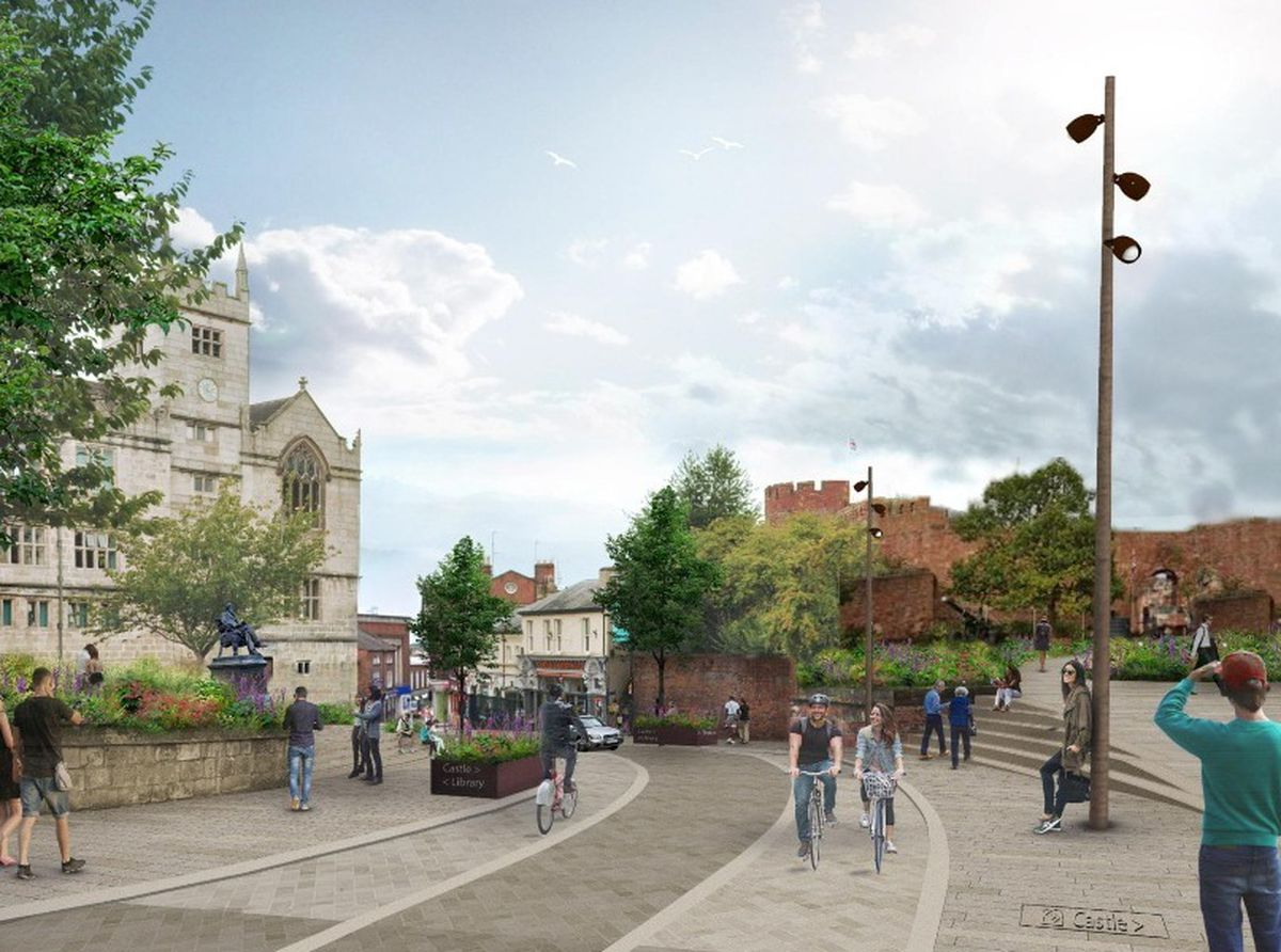 How Castle Street could look, with listed walls along the castle knocked down to open up the area. Picture: LDA Design