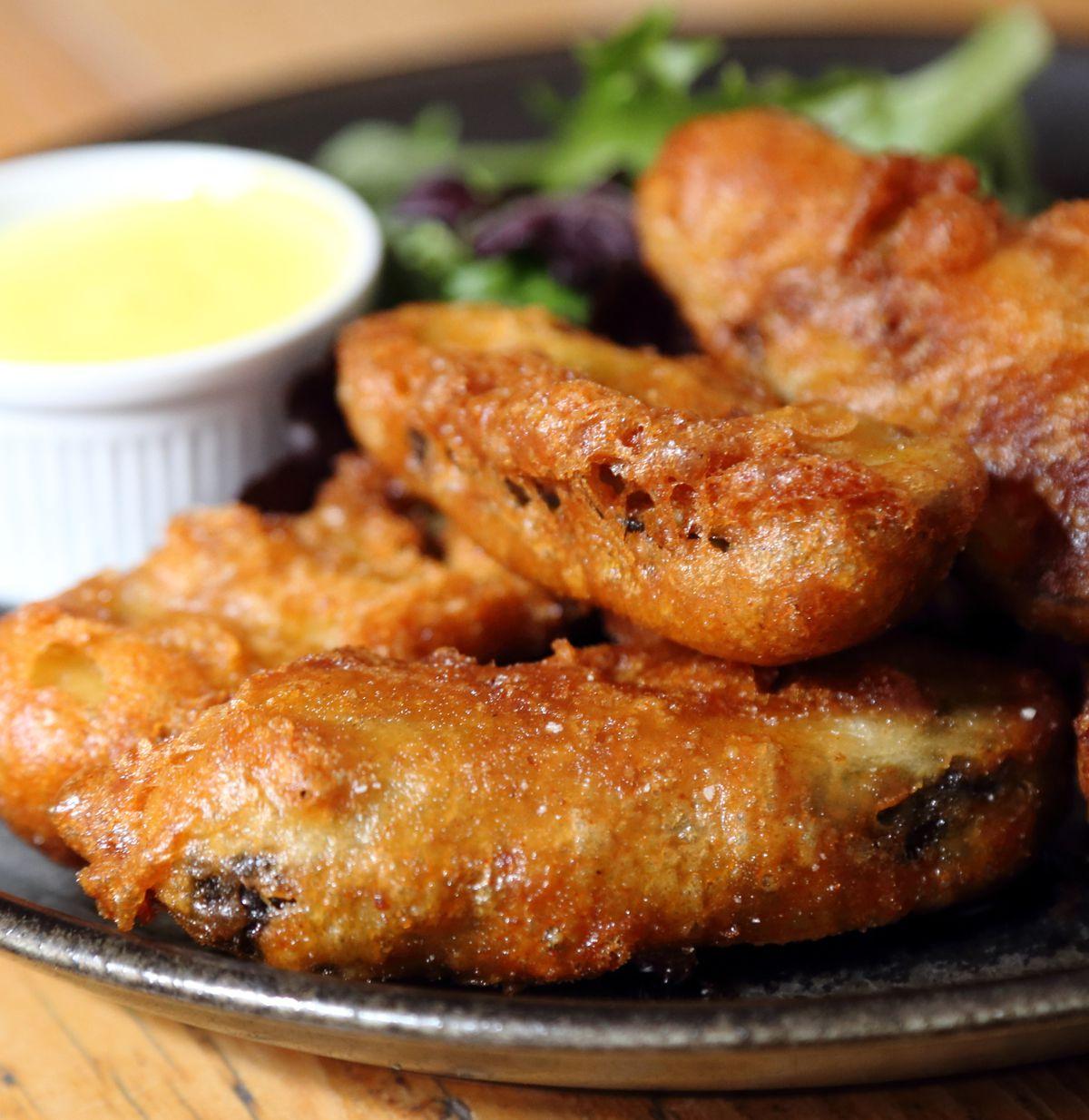 Chicken strips; deep fried tender pieces