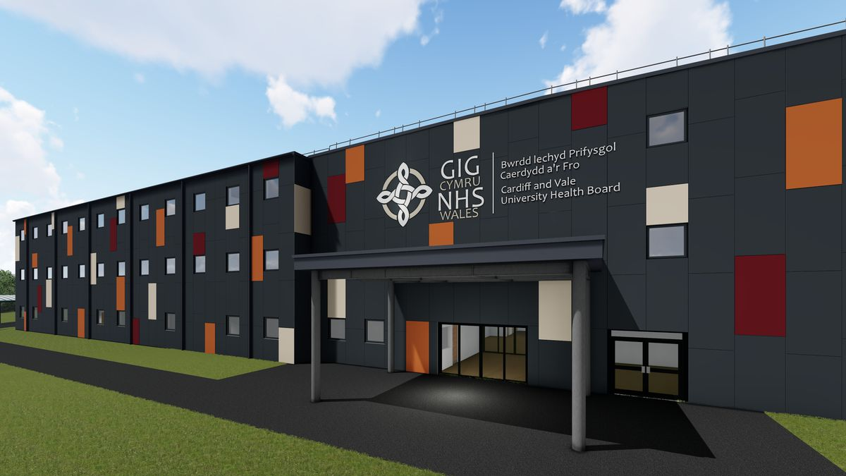 Artist's impression of the new Lakeside Wing at University Hospital of Wales in Cardiff