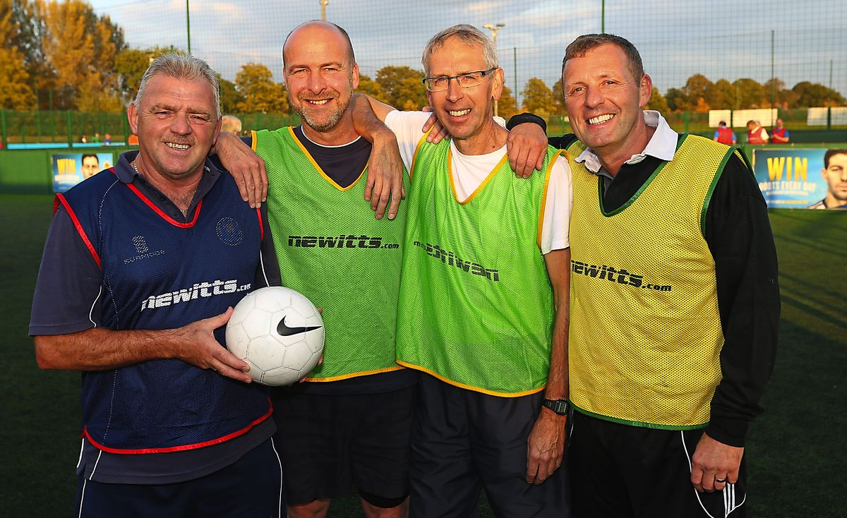 Biggins is still knocking the goals in today, playing walking football in sessions run by Shrewsbury Town Community Sports Trust and is seen here (second right) with former Town players (from left): Brian Williams, Steve Perks and Steve Cross (AMA)