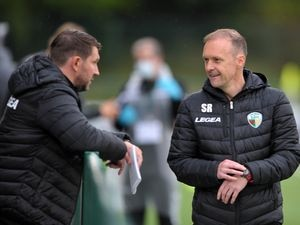 NORTH COPYRIGHT MIKE SHERIDAN TNS boss Scott Ruscoe chats to coach Chris Sargeant during the Europa League qualifying fixture between TNS (The New Saints)(WAL) and MSK Zilina (SVK) at Park Hall, Oswestry on Thursday, August 27, 2020. ....Picture credit: Mike Sheridan/Ultrapress....MS202021-021.