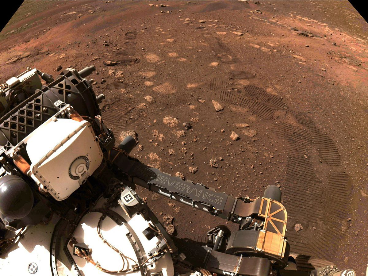 A photo showing tyre marks taken during the first drive of the Perseverance rover on Mars
