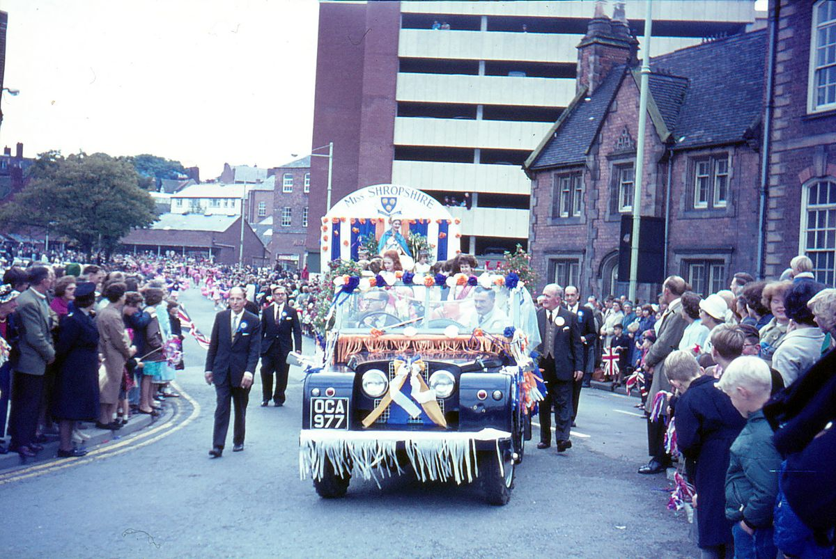 The Miss Shropshire float in Shrewsbury carnival parade in Bridge Street in September 1965. The Miss Shropshire was 22-year-old Mrs Shirley Wallis from Harlescott.