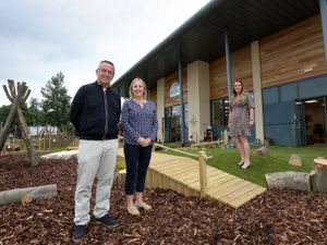 David and Linda Grocott of the Grocott Group pictured with Clare Roberts of Kids Planet Nurseries