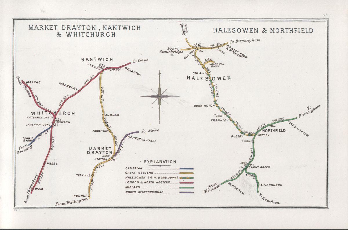Map of former Market Drayton line