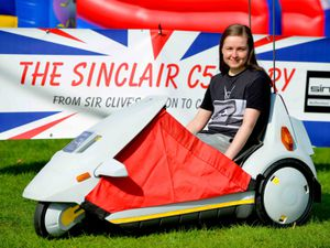 LAST COPYRIGHT SHROPSHIRE STAR STEVE LEATH 22/04/2019..Pics at Weston Park at the Classic Car Show.  Sinclair C5 and: Vicky Rigby from Nottingham..