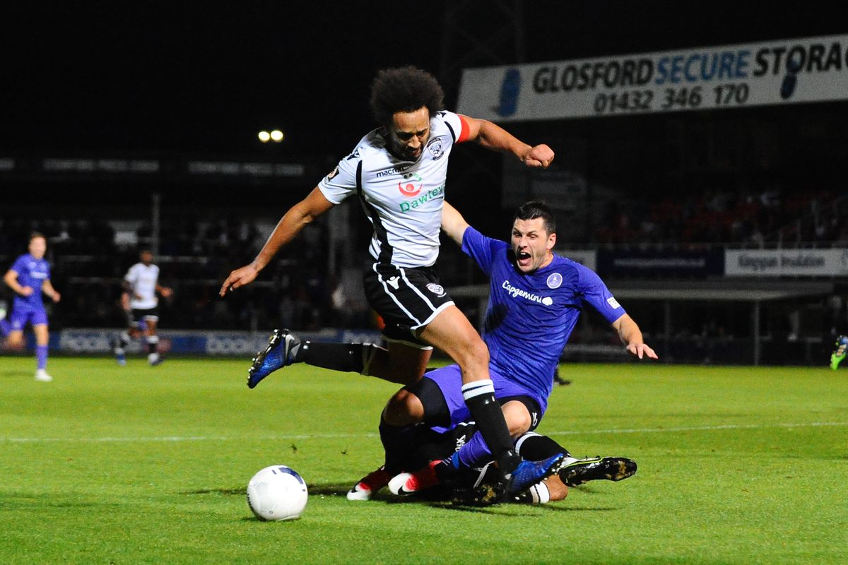 Telford appeal for a penalty after Aaron Williams of Telford is brought down by Josh Gowling