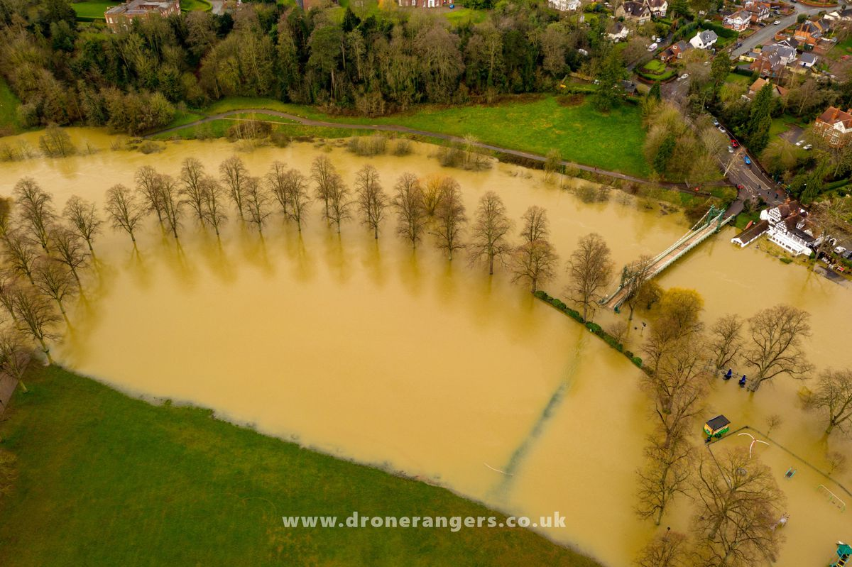 Flooding in the Quarry, Shrewsbury, after Storm Dennis. Photo: Shropshire Council and the Drone Rangers