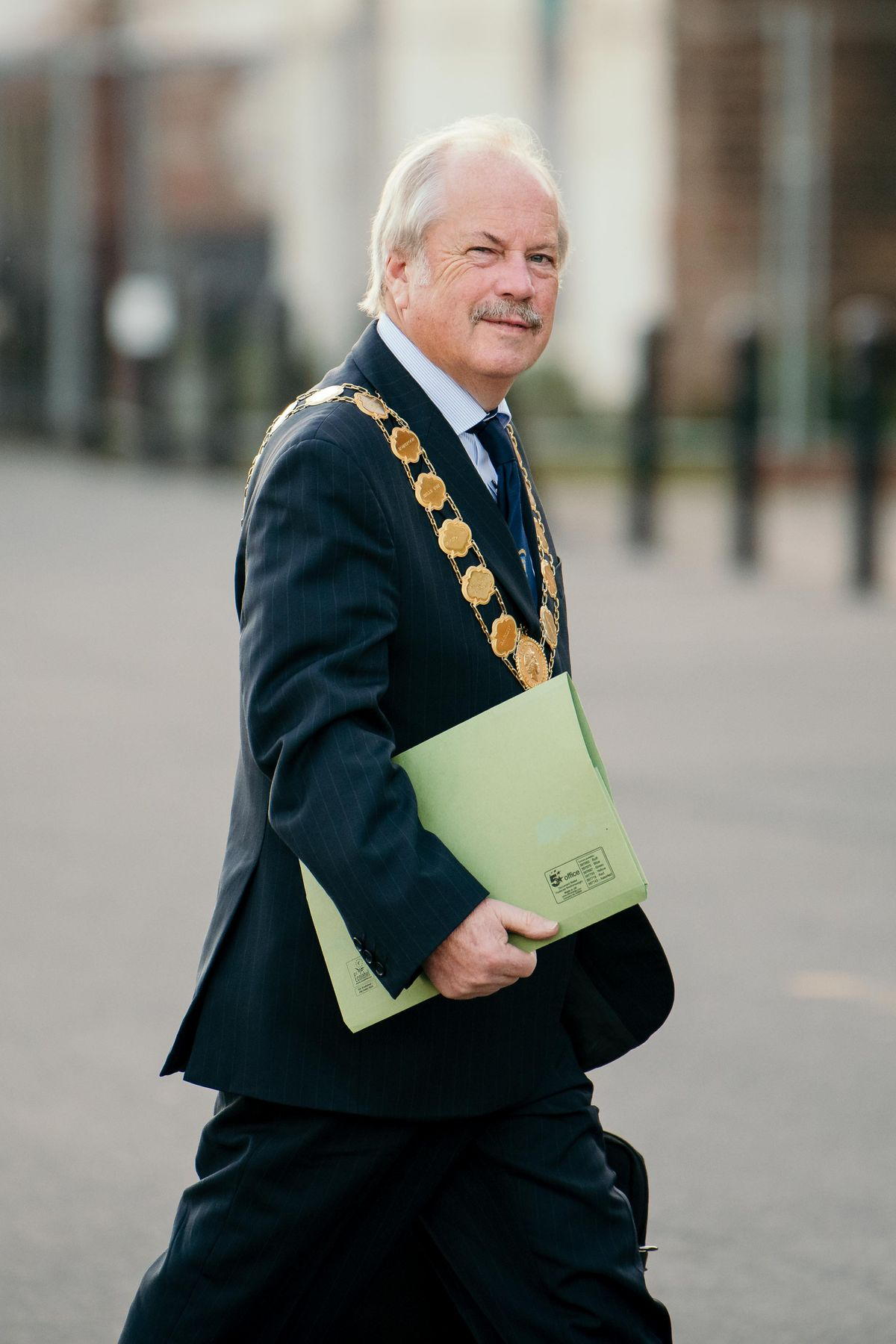 Mayor of Shrewsbury, Councillor Peter Nutting arrives at the meeting