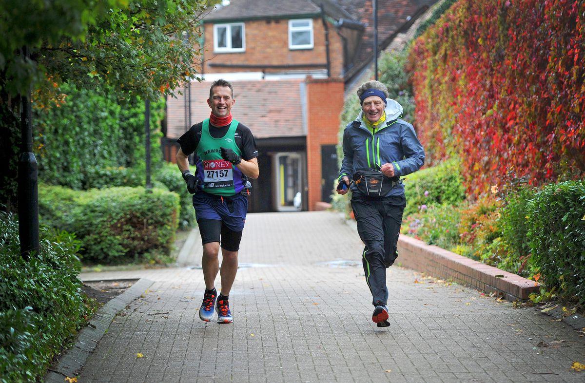 Newport & District Running Club members Phil Dolding and Rodney Jones began their marathon near the Stafford Street car park