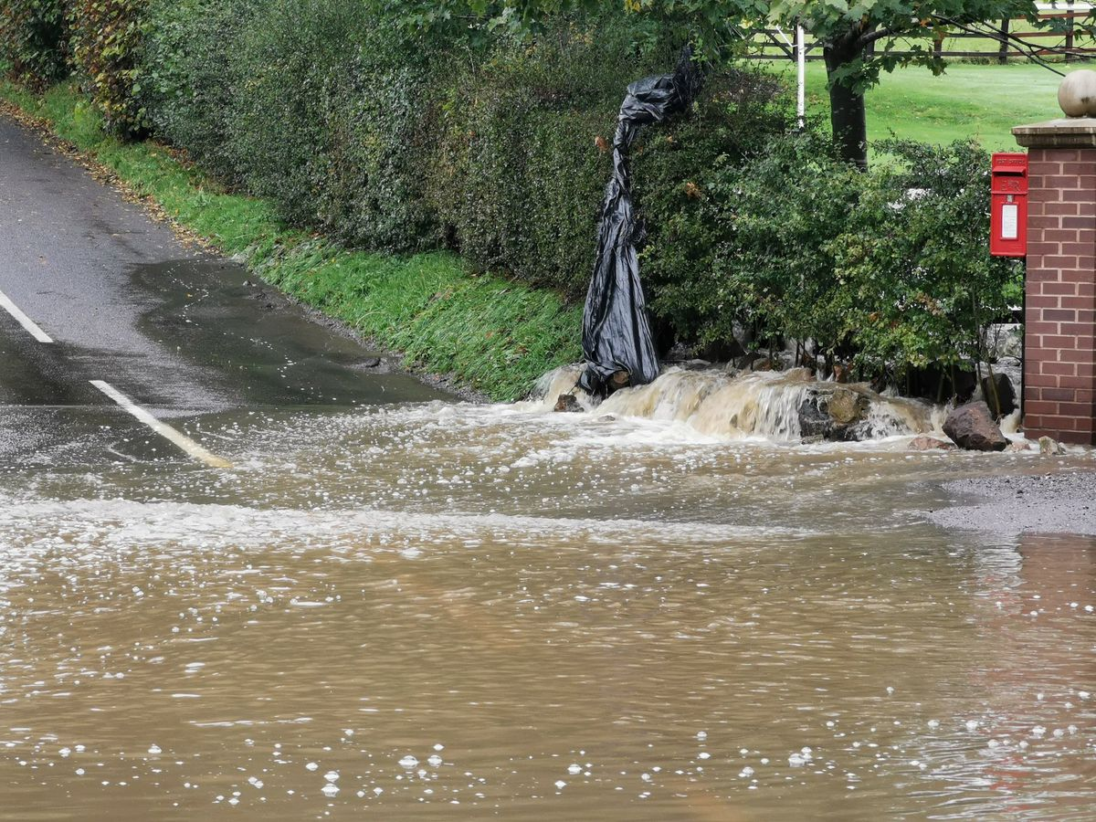 Flooding on Coalmoor Road in Little Wenlock, Telford. Photo: Liam Ball