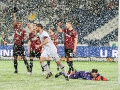 Watch: Hannover denied goal as snow stops ball on the line