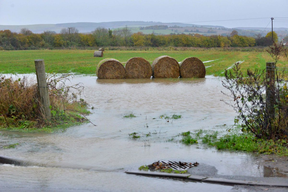 Long Lane, Craven Arms, where the road has flooded