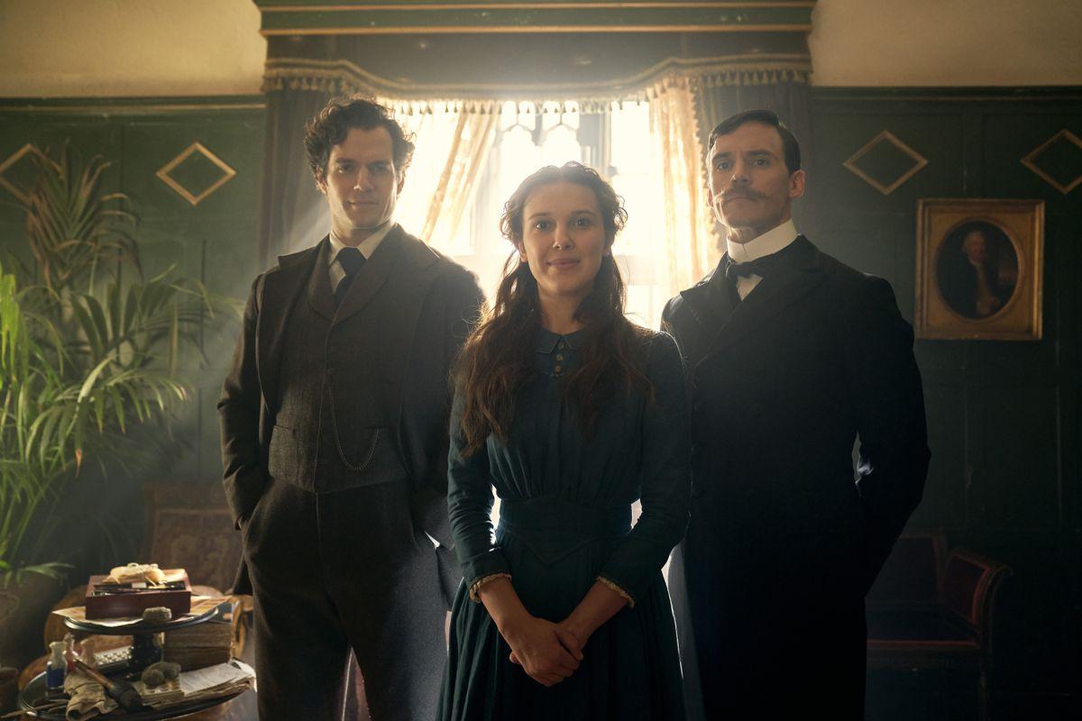 Henry Cavill as Sherlock Holmes, Millie Bobby Brown as Enola Holmes, Sam Claflin as Mycroft Holmes