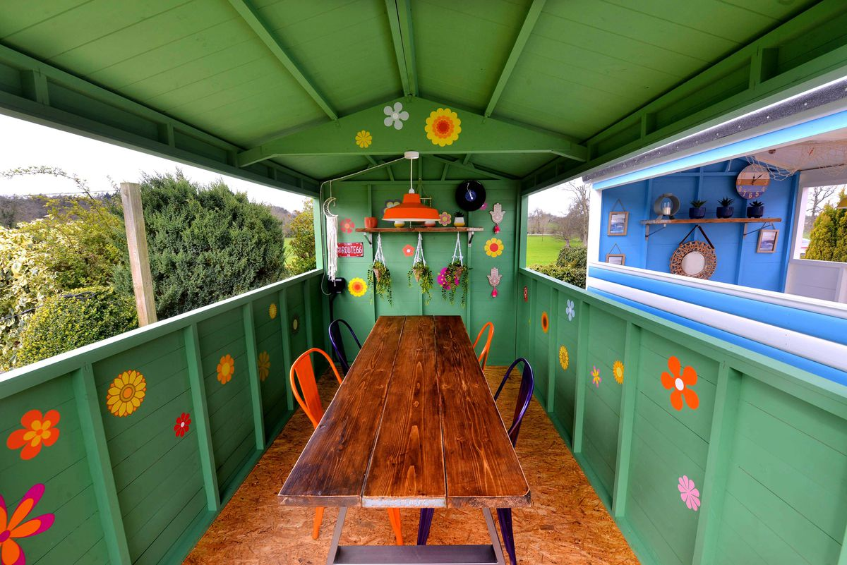 Inside one of the beach huts at Sweeney Hall