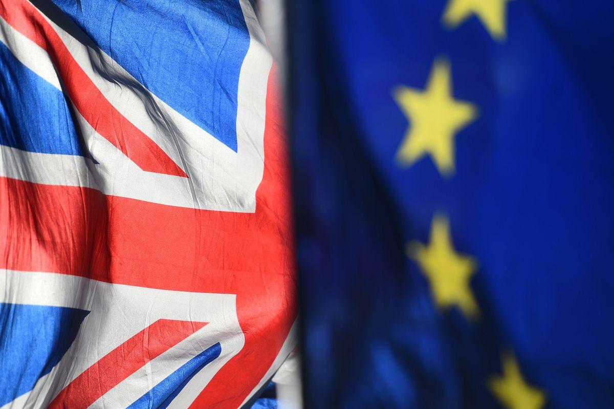 Union Jack and European Union flags
