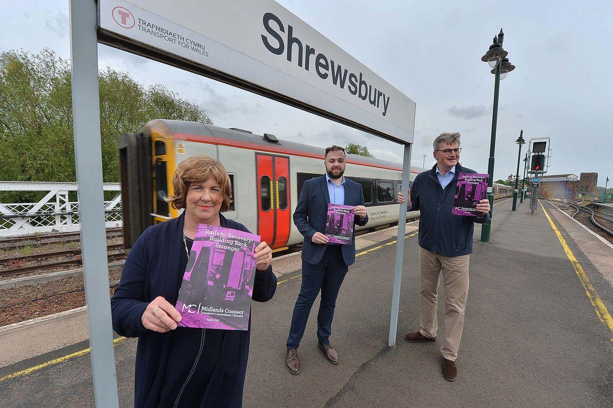 Gill Hamer, Josh Carpenter and Shrewsbury and Atcham MP Daniel Kawczynski at Shrewsbury's station