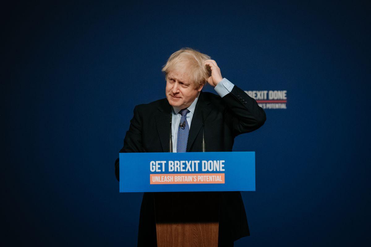 Boris Johnson on stage at the Telford International Centre