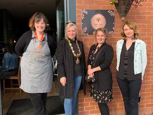 Sam Jennison, cafe owner, with Bridgnorth mayor Sarah Barlow, Nina Davies and Louise Deeley
