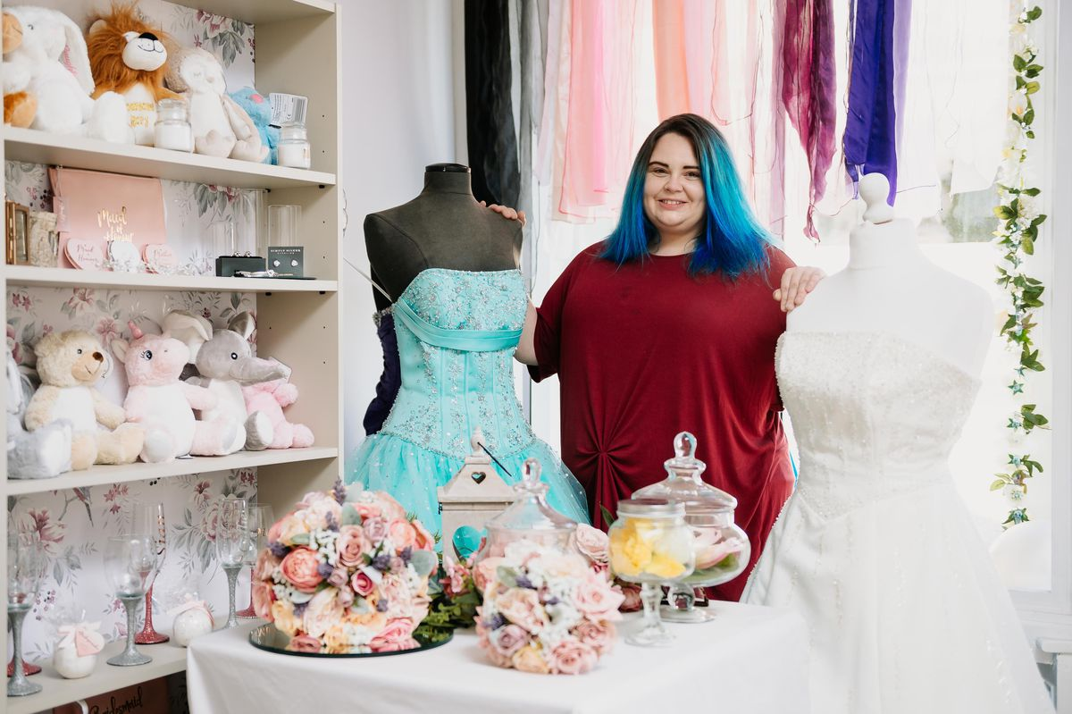 Opulent Occasions, a new wedding shop in Madeley, opened its doors just as lockdown lifted. Pictured is owner Nicola Hiller