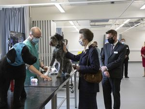 The Princess Royal makes a new friend on her visit to Harper Adams University