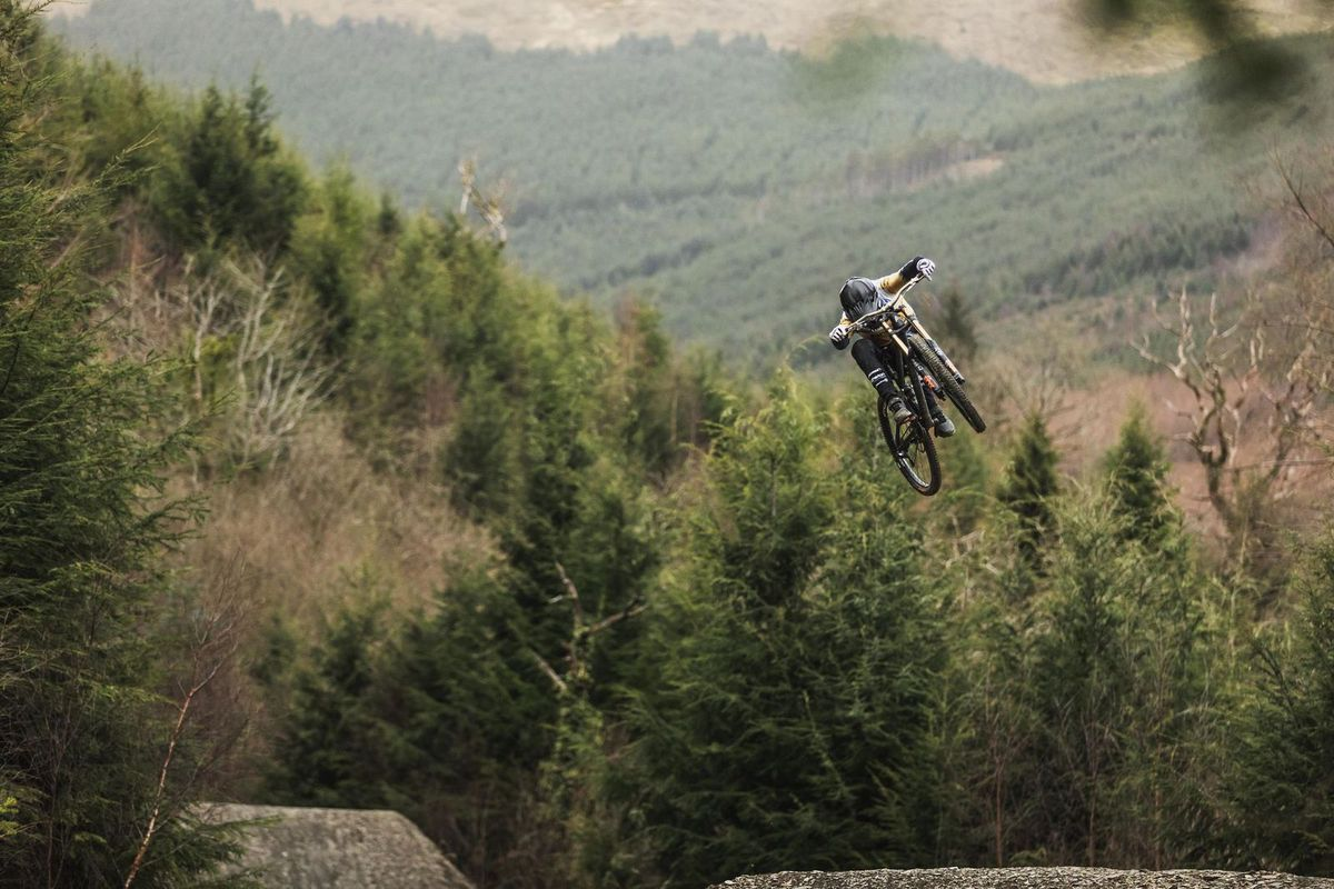 One of the bikes takes flight