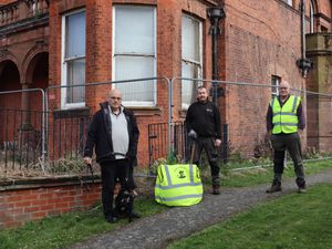 Jack Thornton from We Are Whitchurch, Mike Bolton from The Wrekin Housing Group and Peter Lea from We Are Whitchurch at the Pauls Moss site