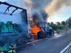 The tractor fire on the A41. Photo: Market Drayton Fire Station