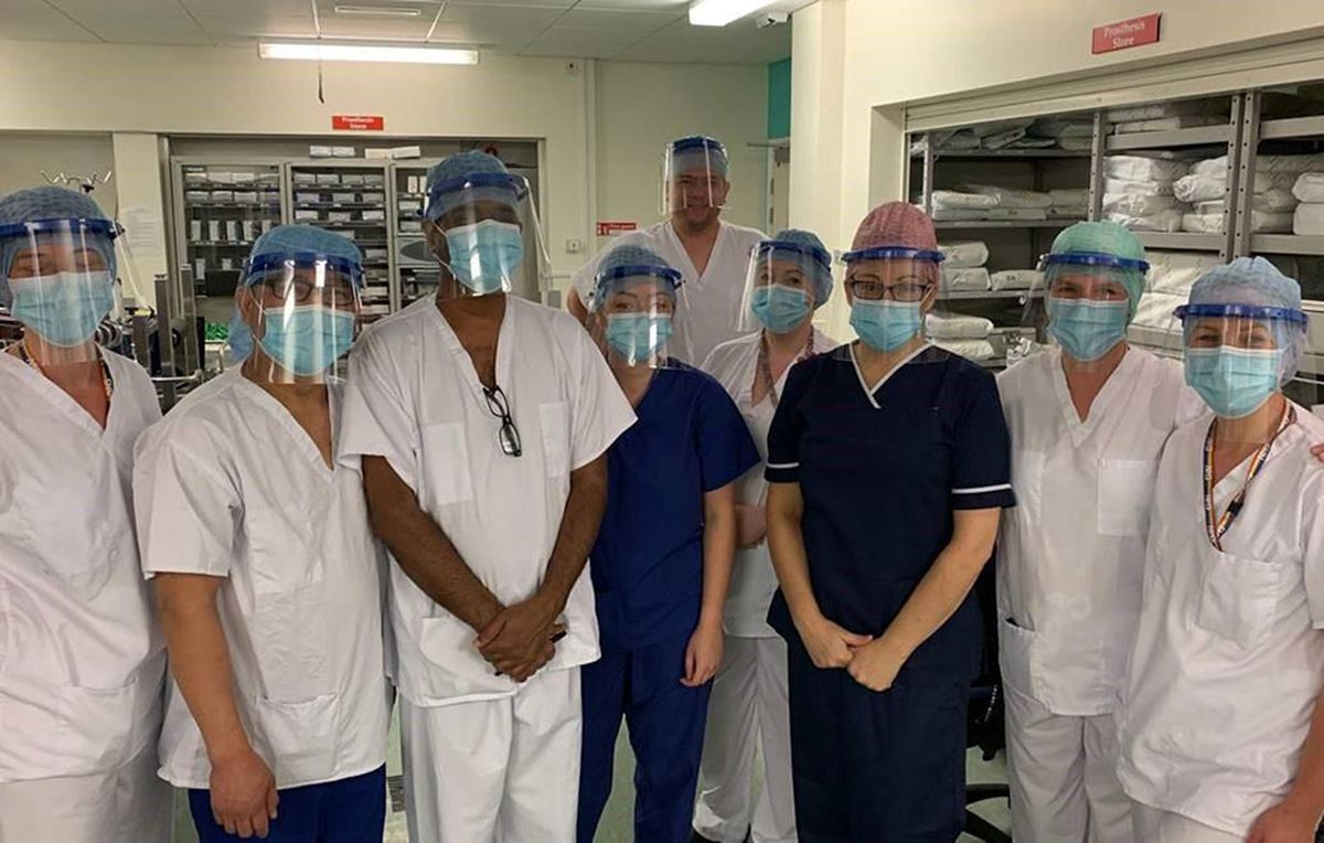 New Cross Hospital medical staff wearing the visors