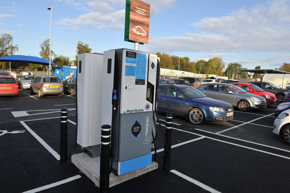 An electric car parking charger at Morrison's in Oswestry