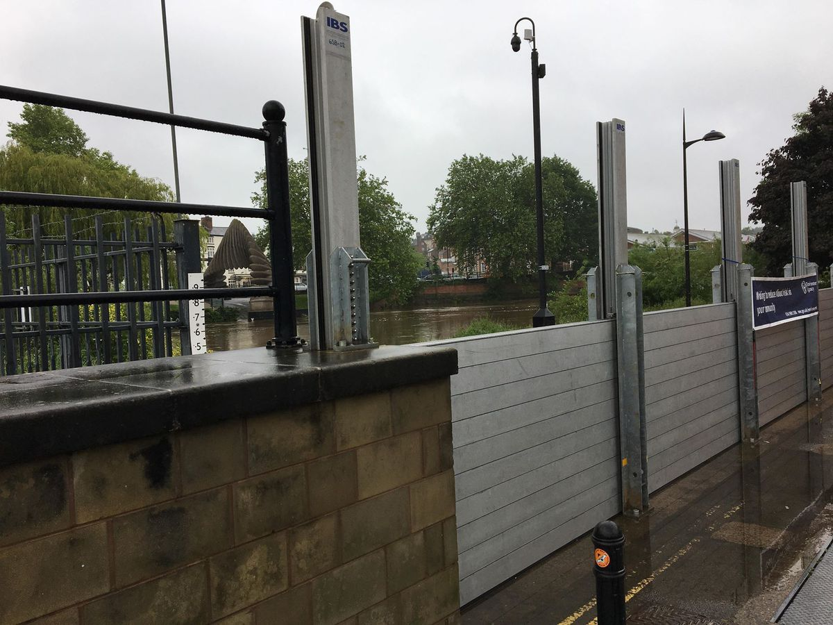 Flood barriers are going up again in Shrewsbury