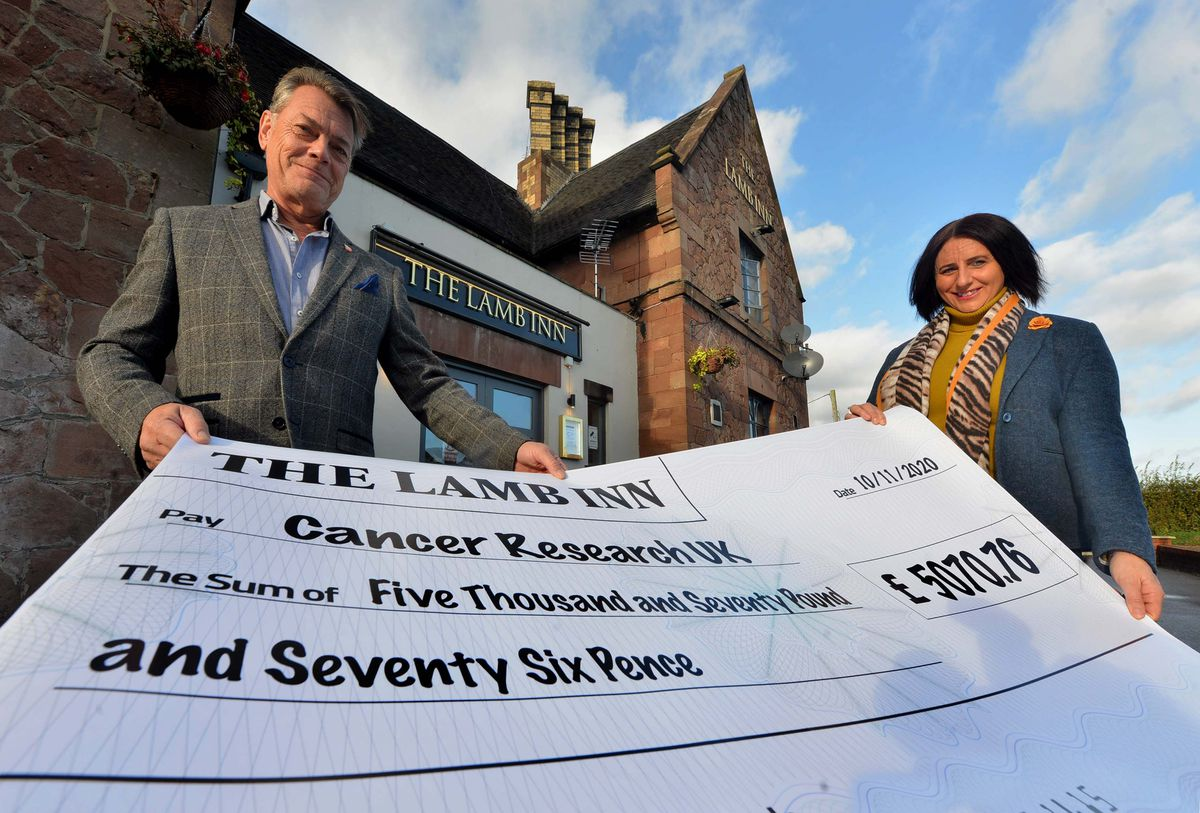 Lance Pettet and Debbie Pettet, whi run The Lamb Inn, have been busy raising money for Cancer Research UK