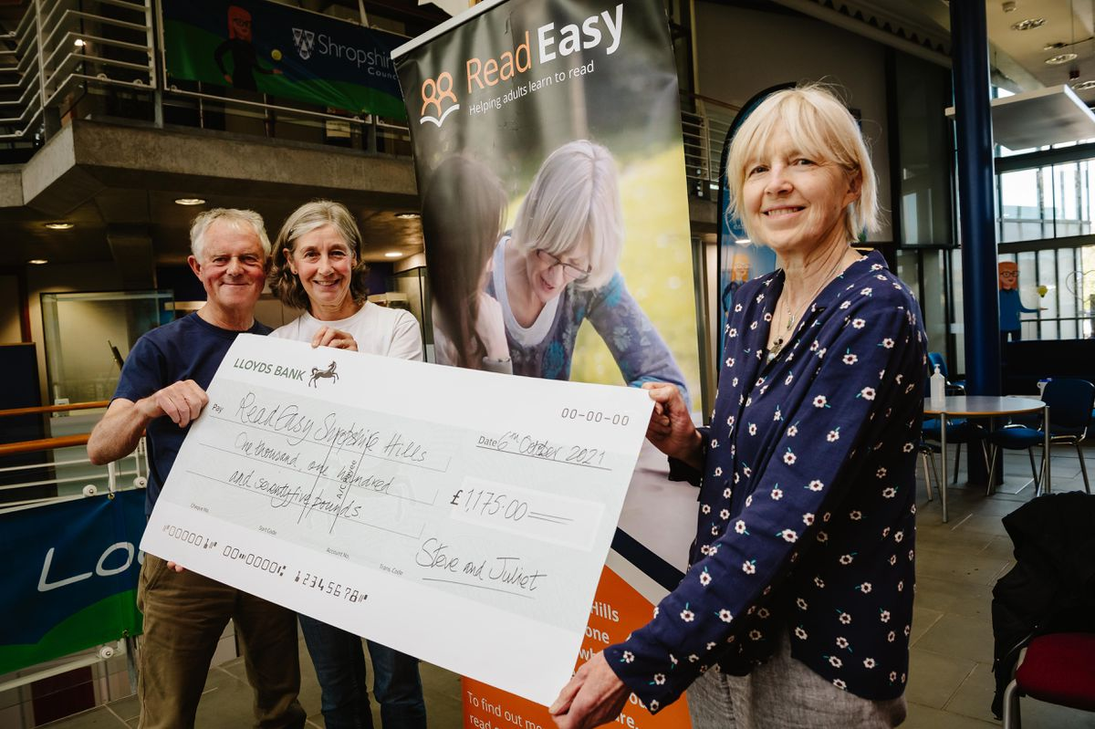 Steve and Juliet Gibbon walked from John O'Groats to Lands End and raised £3525 for three charities including Read Easy Shropshire Hills. Pictured with Annabel Stacey (Team Leader for Read Easy Shropshire Hills)