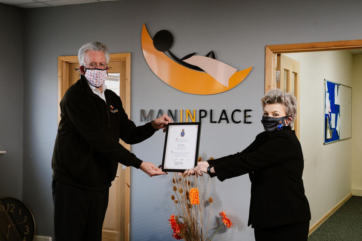 Maninplace founder and CEO Alan Olver accepted the award from Shropshire's High Sheriff Mrs Dean Harris