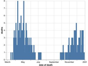 The daily number of coronavirus deaths at Shropshire hospitals as of December 31. By date of death, not date death was announced. Data: NHS England.
