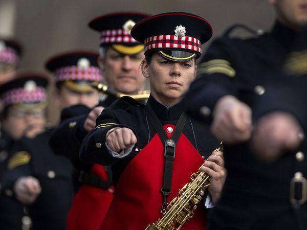 Military personnel rehearsing for the Duke of Edinburgh's funeral