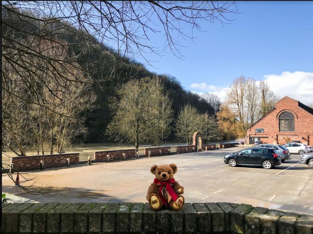 Merrythought car park on Thursday with the 90th anniversary teddy bear
