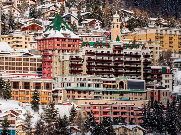 Exterior view of the hotel Badrutt's Palace, centre, in St Moritz, Switzerland (Giancarlo Cattaneo/AP)