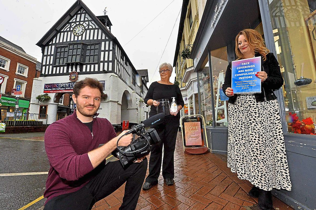 Alex Cave from Caveco Marketing Films, with Councillor Sarah Stevens and trader Alix Francis in Bridgnorth High Street