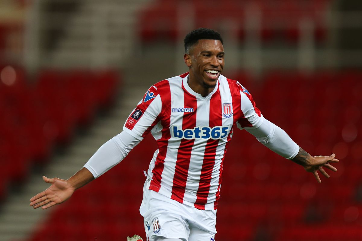 Tyrese Campbell of Stoke City celebrates after scoring a goal to make it 1-0. (AMA)