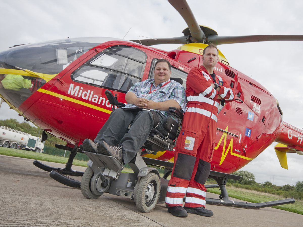 Marcus Watkin with one of the air ambulance crew