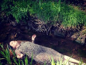 Sally Hamner recreating the famous Ophelia painting